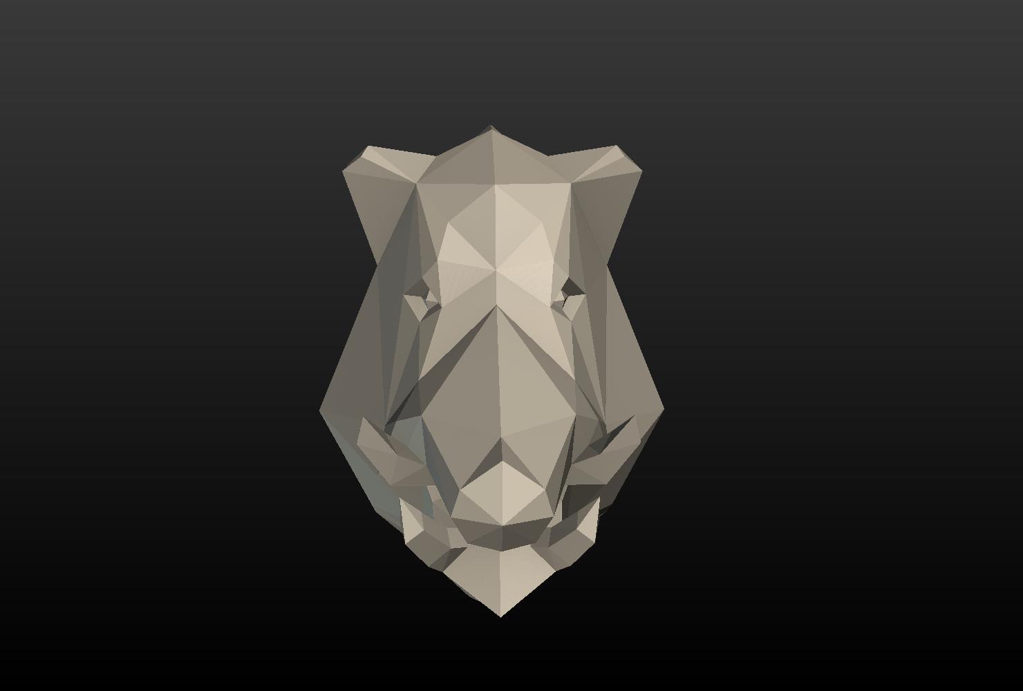 Boars_LP_Head-0009.png Download 3DS file Boar Head Low Poly • 3D print model, Skazok