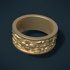 Flower Ring STL file, Skazok