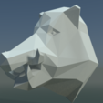 Boars_LP_Head-0005.png Download 3DS file Boar Head Low Poly • 3D print model, Skazok