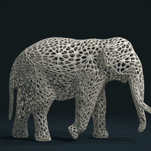 Mesh_Elephant_C-01.png Download STL file Mesh Elephant • 3D printer design, Skazok