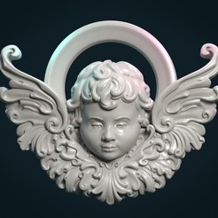 Angel_01.jpg Download STL file Angel Cherub bas-relief • 3D printable object, Skazok