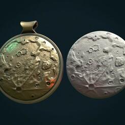 Moonbr-01x.jpg Download STL file Moon Bas-Relief Pendant • Design to 3D print, Skazok