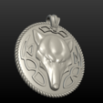 Wolf Pendant 3D printer file, Skazok