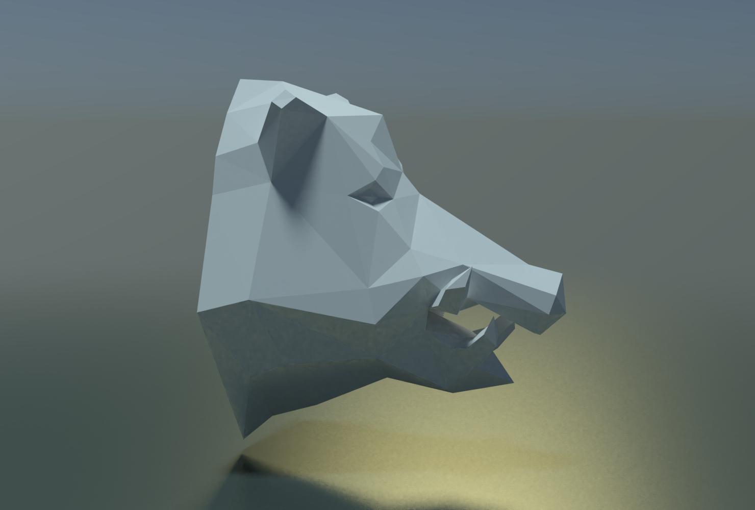 Boars_LP_Head-0004.png Download 3DS file Boar Head Low Poly • 3D print model, Skazok