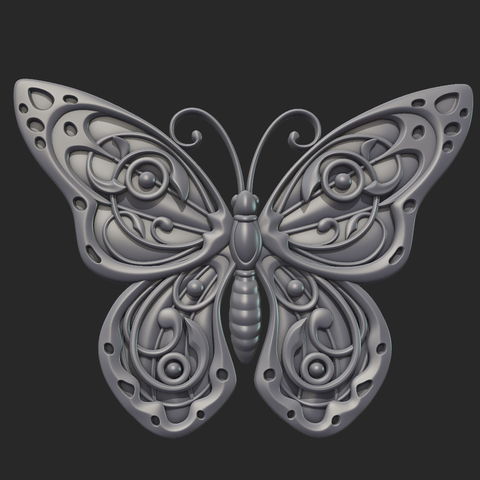 Butterfly_OPGL_28-01.png Download STL file Butterfly relief • Model to 3D print, Skazok