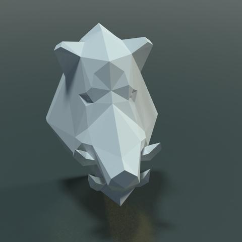 Boars_LP_Head-0003.png Download 3DS file Boar Head Low Poly • 3D print model, Skazok