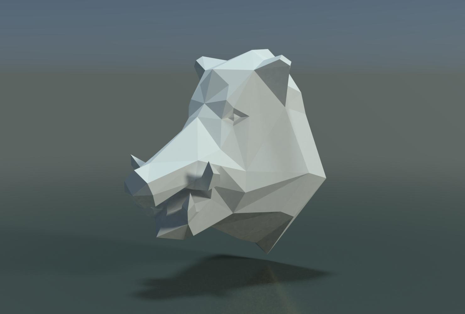 Boars_LP_Head-0001.png Download 3DS file Boar Head Low Poly • 3D print model, Skazok