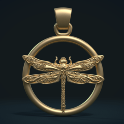 STL files Dragonfly Pendant, Skazok