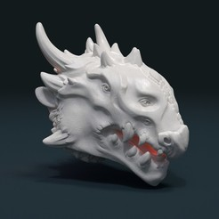 STL files Demon Dragon Head, Skazok