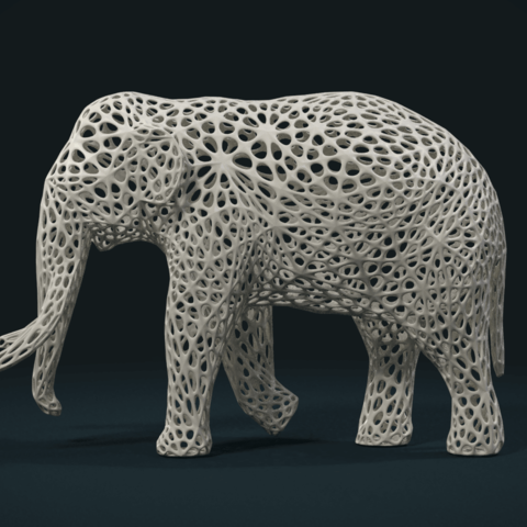 Mesh_Elephant_C-03.png Download STL file Mesh Elephant • 3D printer design, Skazok