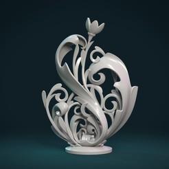 Scrolls-01.jpg Télécharger fichier STL Sculpture de plantes à parchemin • Modèle pour imprimante 3D, Skazok