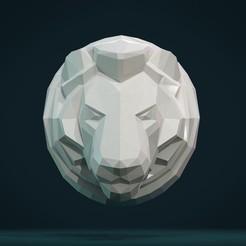 Lion_head-01.jpg Download STL file Lion Head low Poly • 3D printer design, Skazok