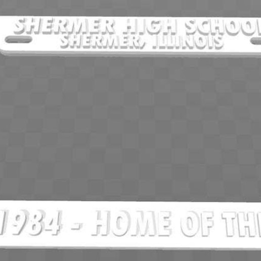 Download free 3D printing files Shermer, Ill. - Class of 1984, Home of the Bulldogs License Plate Frame, becker2