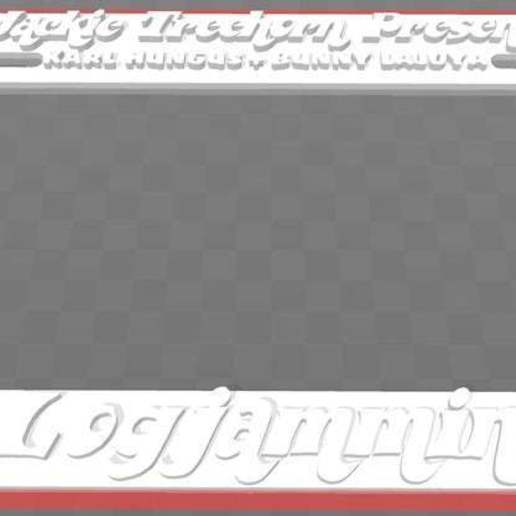 Download free 3D printer templates Jackie Treehorn Presents - Logjammin', License Plate Frame, The Big Lebowski, becker2
