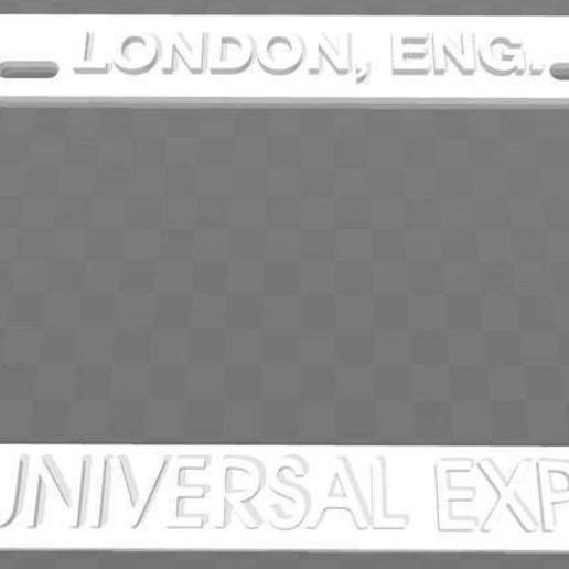 Download free 3D print files Universal Exports - London, Eng., License Plate Frame, James Bond, becker2