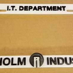 Download free 3D printing models I.T. DEPARTMENT - REYNHOLM INDUSTRIES, License Plate Frame, becker2