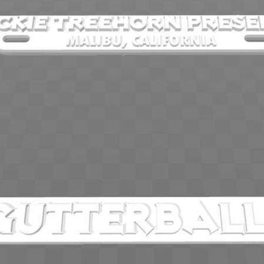 Download free 3D printer templates Jackie Treehorn Presents - Gutterballs, License Plate Frame, The Big Lebowski, becker2
