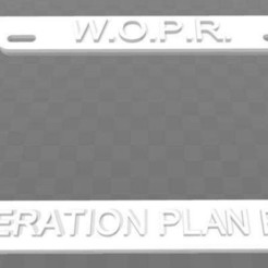 Download free 3D model WOPR - War Operation Plan Response, License Plate Frame, becker2