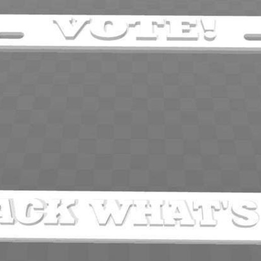 Download free 3D printing templates Vote! Take Back What's Yours! License Plate Frame, becker2