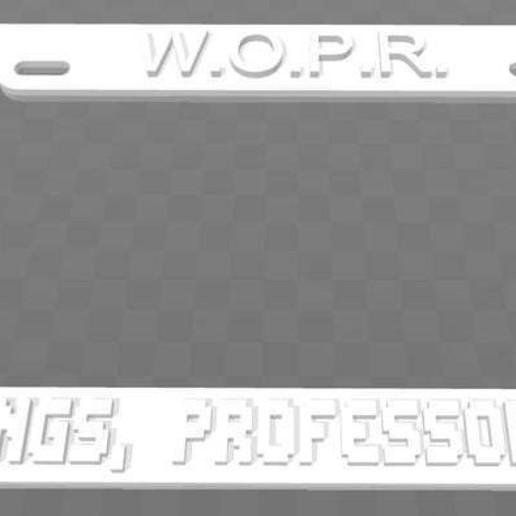 Download free STL files WOPR - Greetings, Professor Falken License Plate Frame, becker2