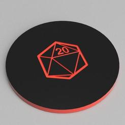 D20_TOP_2.jpg Download free STL file D20 THEMED DICE TRAY, 7 POCKETS • 3D printable object, becker2