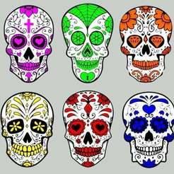 sugar_skull_ornaments.jpg Download free STL file Sugar Skull Christmas Ornaments • 3D printer design, becker2