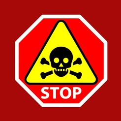 Download free STL file STOP, SKULL WARNING, sign • 3D printing template, becker2