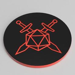 CROSSED_TOPS_2.jpg Download free STL file CROSSED SWORDS THEMED DICE TRAY, 7 POCKETS • 3D printing object, becker2
