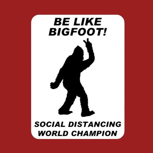 bigfoot_peace_sign.jpg Download free STL file BE LIKE BIGFOOT! SOCIAL DISTANCING WORLD CHAMPION, sign (Coronavirus) • 3D printing model, becker2