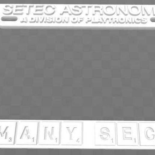 Download free 3D printer designs SETEC ASTRONOMY - TOO MANY SECRETS, License Plate Frame, becker2