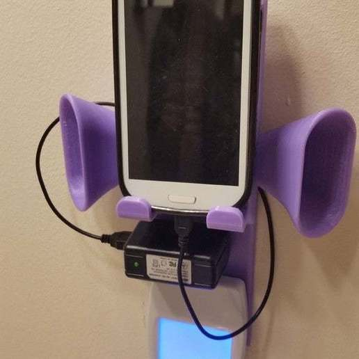 Download free 3D printing templates Outlet Cover Plate Charging Station with Speaker Cones, becker2