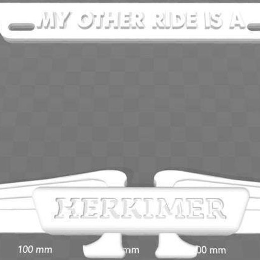 Download free STL My Other Ride Is A Herkimer License Plate Frame, Mystery Men, becker2