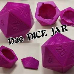 "Download free 3D printer designs Updated- 7"" D20 Jar, revisited, becker2"