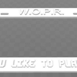 Download free 3D print files WOPR - Would you like to play a game, License Plate Frame, becker2