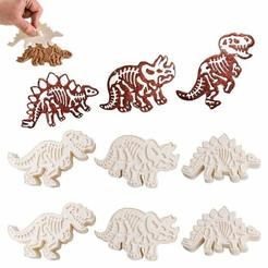 Download 3D printer files T-rex; stegosaurus and triceratops cookie cutter, ichano