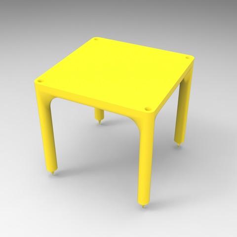 rendu jaune simple.jpg Download STL file Small table that can be transformed into a custom-made shelf • 3D printable design, GuilhemPerroud