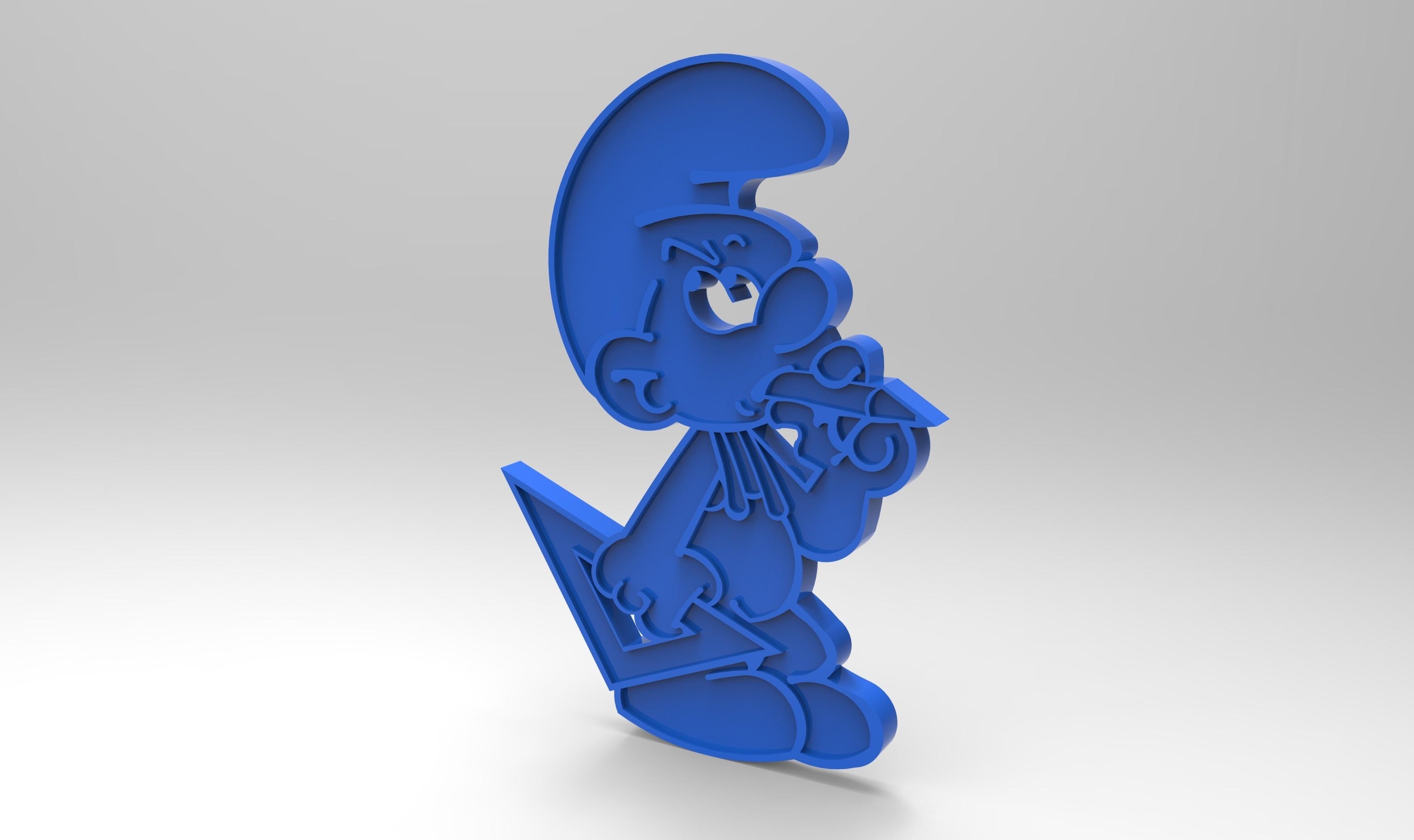 rendu schtroumpfs bricoleurplastique bleu.jpg Télécharger fichier STL gratuit figurine schtroumpfs bricoleur smurf peyo porte clef • Objet pour impression 3D, GuilhemPerroud