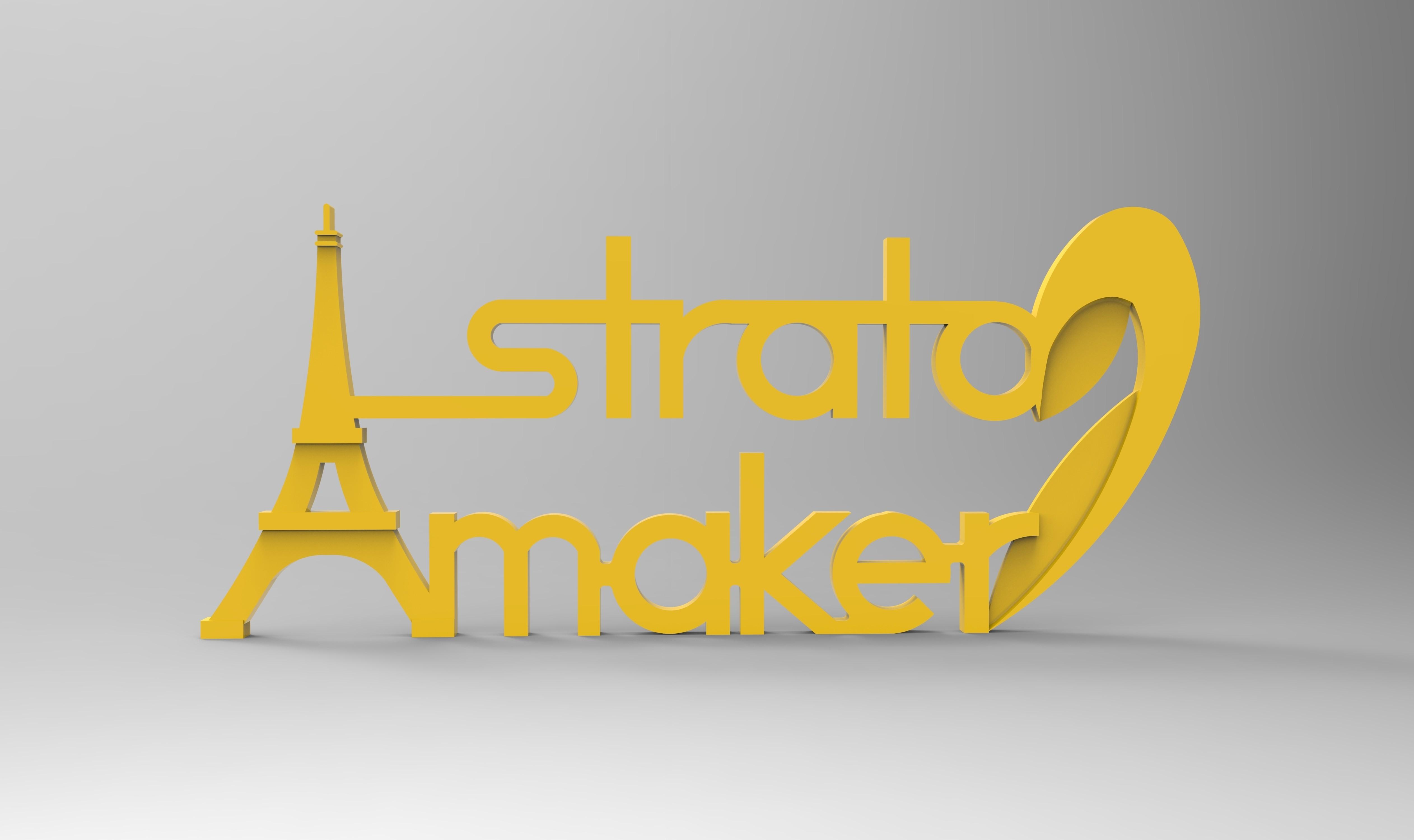 rendu plaque 2 face 265.jpg Download free STL file Stratomaker brand and logo (Eiffel Tower) • 3D printer model, GuilhemPerroud
