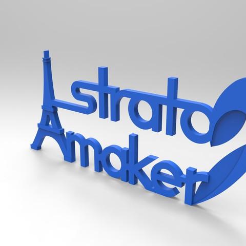 rendu plaque 2 face 275.169.jpg Download free STL file Stratomaker brand and logo (Eiffel Tower) • 3D printer model, GuilhemPerroud