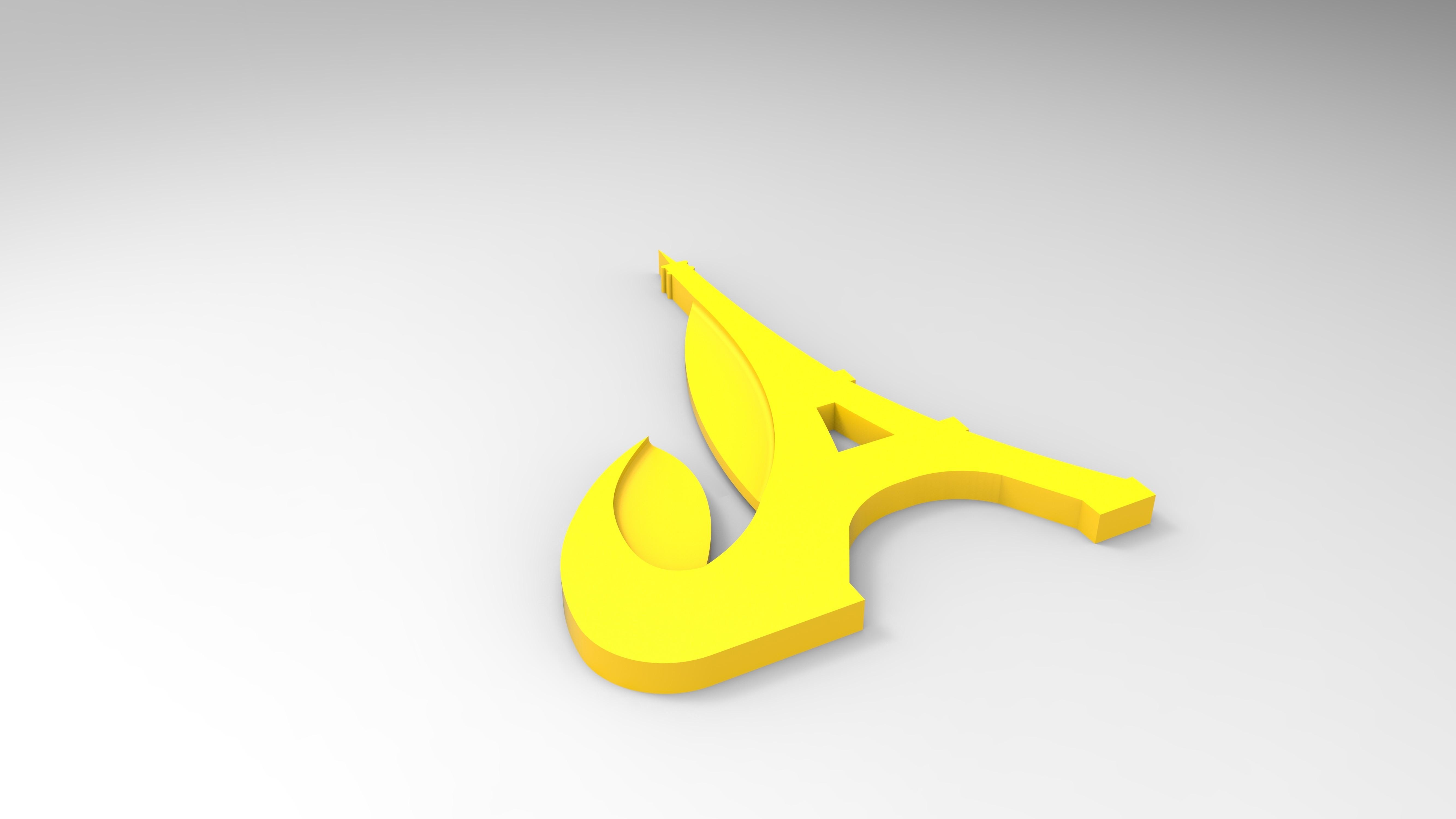 rendu jaune tour effeil.jpg Download free STL file Key ring or stratomaker figurine with tapered tower. • Model to 3D print, GuilhemPerroud