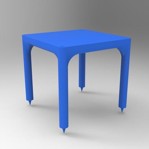 rendu table simple bleu.jpg Download STL file Small table that can be transformed into a custom-made shelf • 3D printable design, GuilhemPerroud