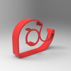rendu dérouleur scotch plastique rouge.jpg Download free STL file tape dispenser (useful gadjet office work) • Template to 3D print, GuilhemPerroud