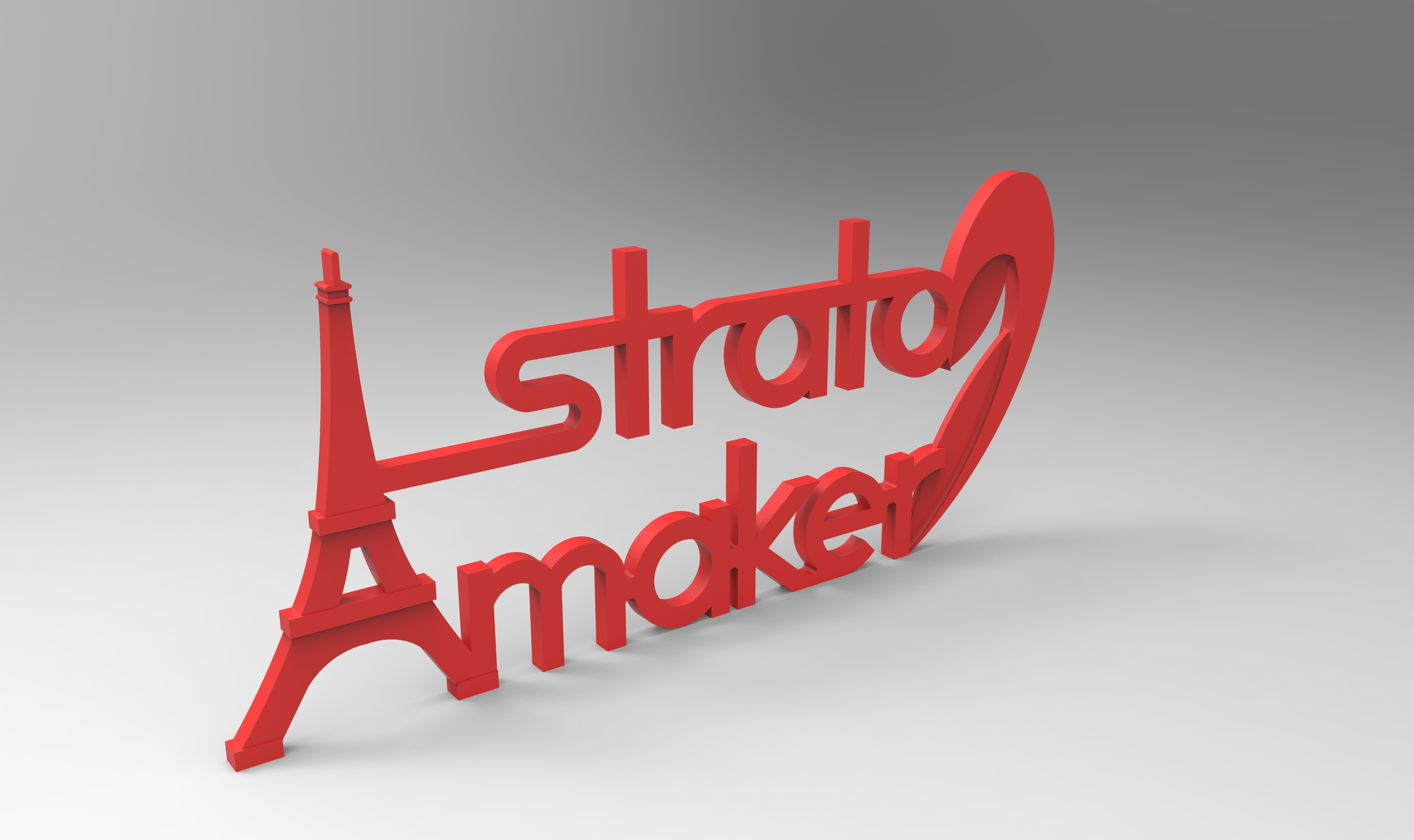 rendu plaque 2 face 275.178.jpg Download free STL file Stratomaker brand and logo (Eiffel Tower) • 3D printer model, GuilhemPerroud