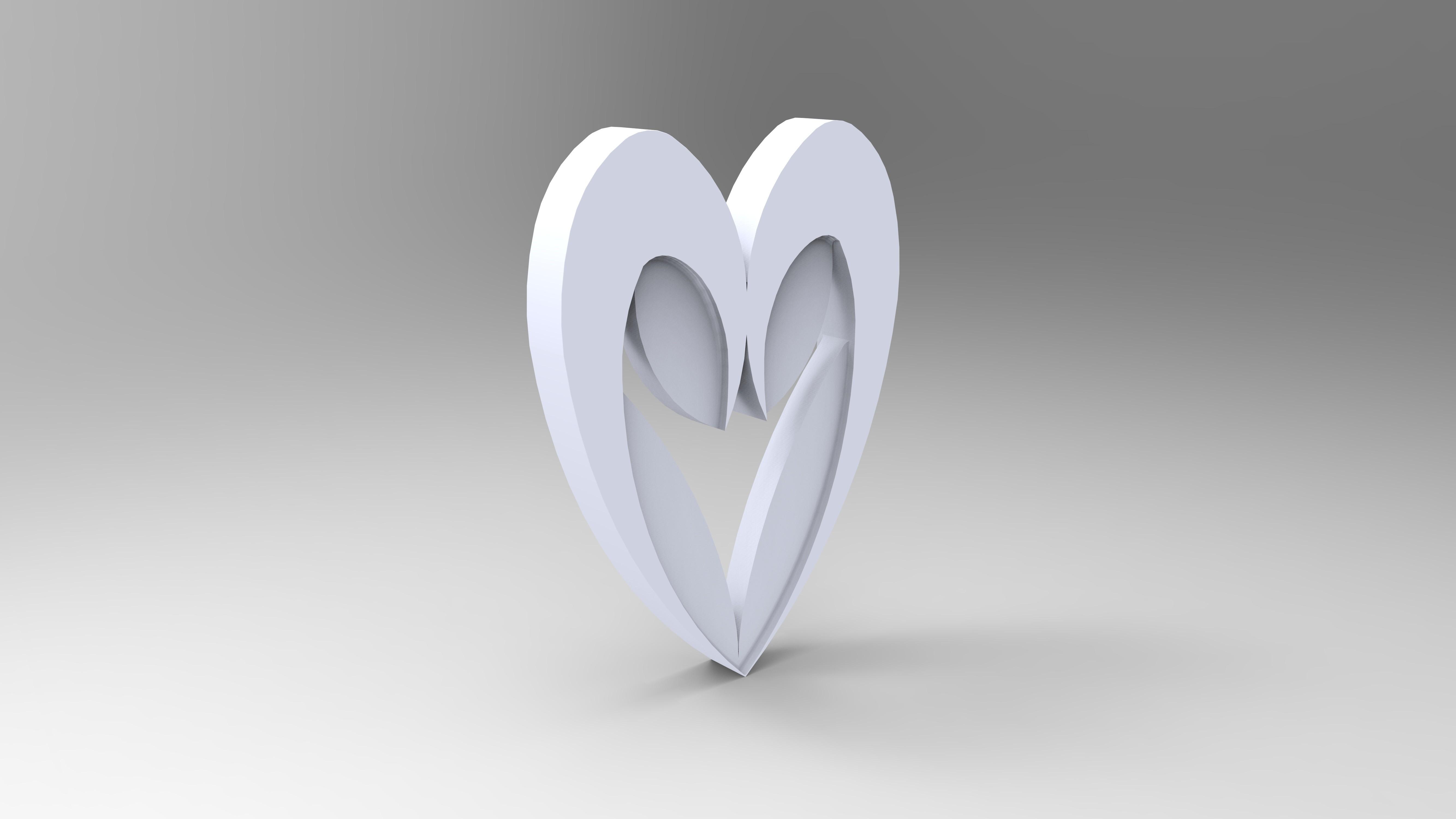 rendu simple blanc.jpg Download free STL file Heart from the stratomaker logo • 3D print object, GuilhemPerroud