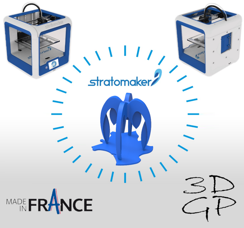 affiche.png Download free STL file Pencil holder composed of 4 STRATOMAKER logos implanted in France • Design to 3D print, GuilhemPerroud