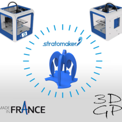 Free STL Pencil holder composed of 4 STRATOMAKER logos implanted in France, GuilhemPerroud