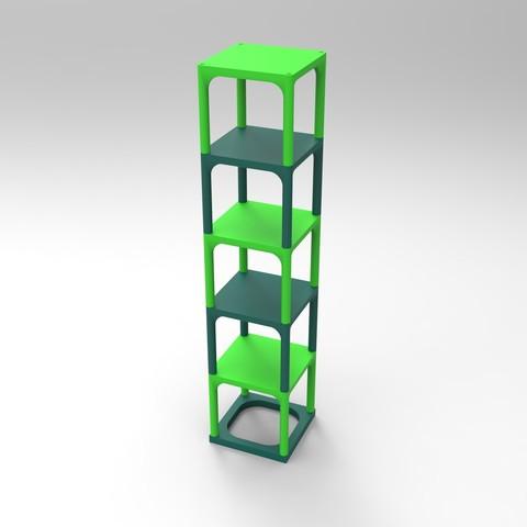 rendu essemble vert2.jpg Download STL file Small table that can be transformed into a custom-made shelf • 3D printable design, GuilhemPerroud