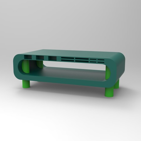 rendu essemble vert tablette ordi.jpg Télécharger fichier STL Meuble pour ordinateur avec porte carte sd, micro sd et clef USB • Design imprimable en 3D, GuilhemPerroud