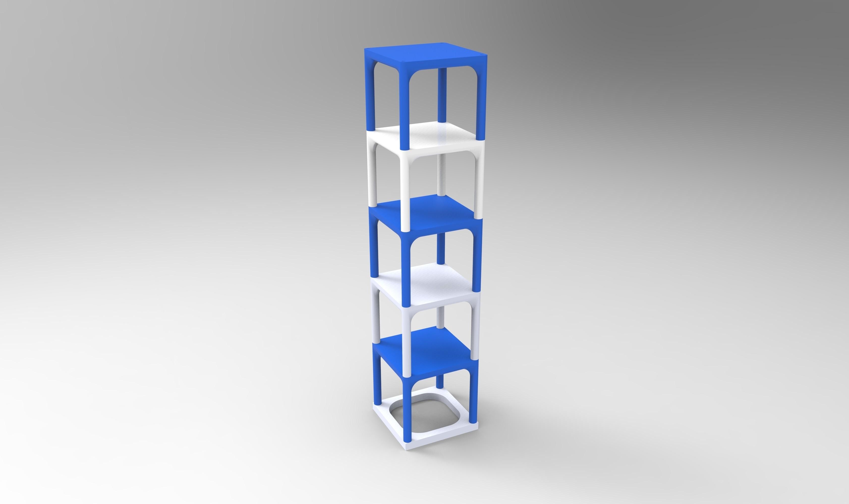 rendu enssemble  bleu blanc.jpg Download STL file Small table that can be transformed into a custom-made shelf • 3D printable design, GuilhemPerroud