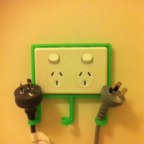Free Power Point Cord & Socket Organiser (Australia, New Zealand, Fiji, Tonga, Solomon Islands, and Papua New Guinea sockets) STL file, sjpiper145